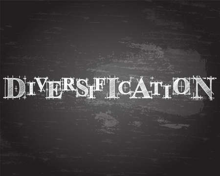 Diversification text hand drawn on blackboard background