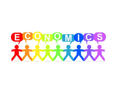 Economics word in speech bubbles with cut out paper people chain in rainbow colors