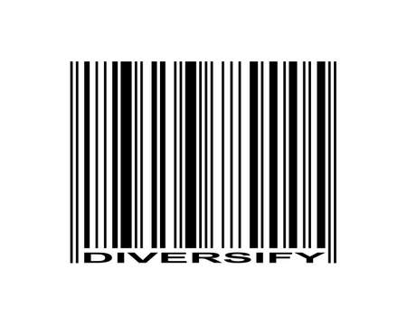 Diversify word and barcode icon