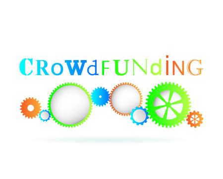 Crowdfunding word above modern gear wheels Illustration
