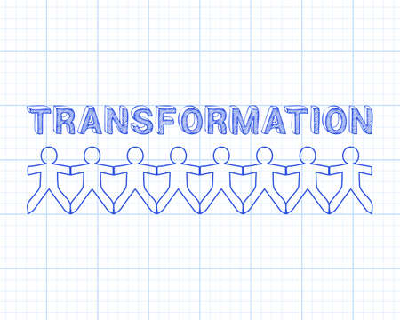 Transformation text hand drawn with paper people on graph paper background