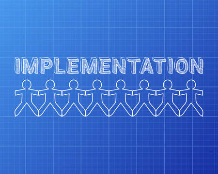 Implementation text hand drawn with paper people on blueprint background