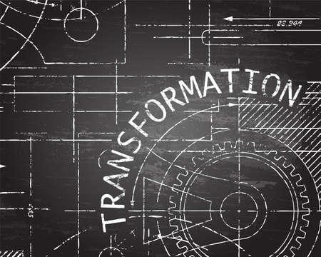 Transformation text with gear wheels hand drawn on blackboard technical drawing background Ilustração