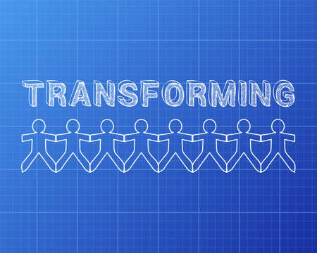 Transforming text hand drawn with paper people on blueprint background Ilustração