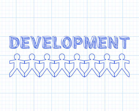 expanding: Development text hand drawn with paper people on graph paper background Illustration