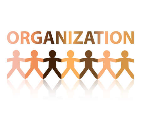 Organization cut out paper people chain in different skin tone colors
