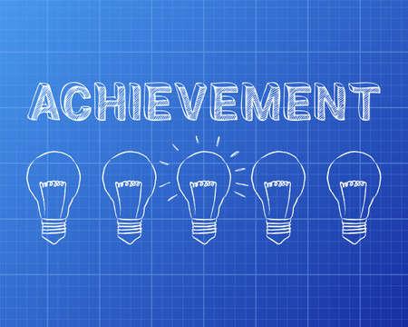 accomplish: Hand drawn achievement sign and light bulbs on blueprint background