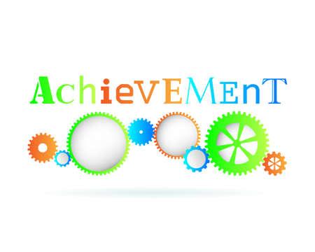 achieve goal: Achievement word above modern gear wheels