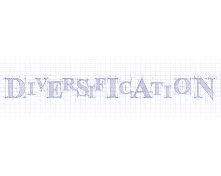 Diversification word in technical drawing on graph paper Illustration