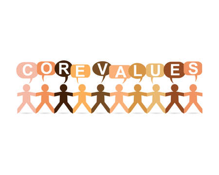Core values word in speech bubbles with cut out paper people chain in different skin tone colors