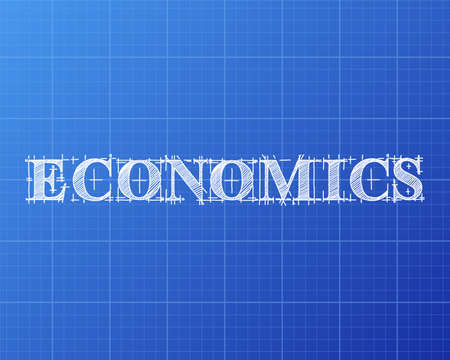 Economics text hand drawn on blueprint background Illustration