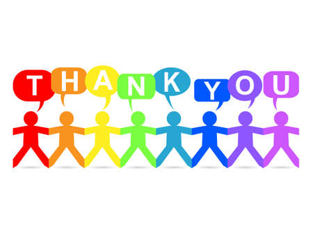 Cut out paper people in rainbow colors with thank you text in speech bubbles Illustration