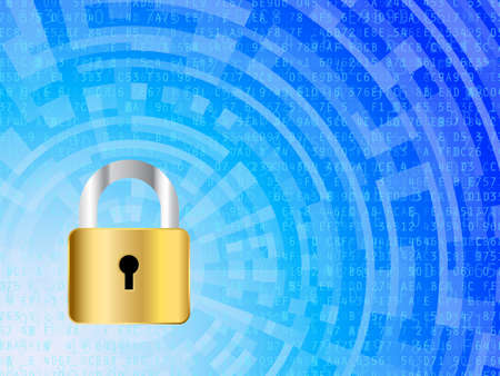 Padlock against high tech data security background