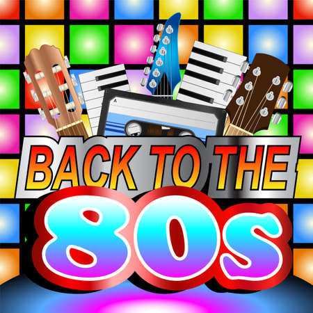 Colorful back to the eighties retro poster