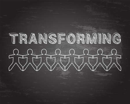 Transforming text hand drawn with paper people on blackboard background Ilustração