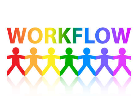 Workflow cut out paper people chain in rainbow colors