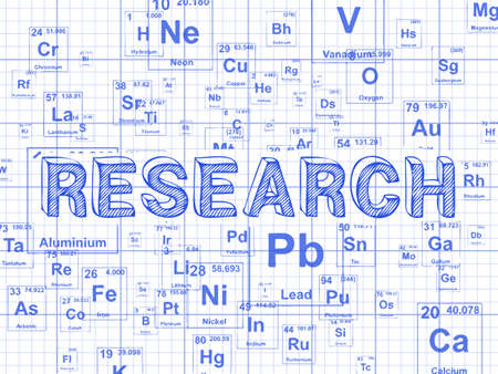 Research word on periodic table symbols graph paper background