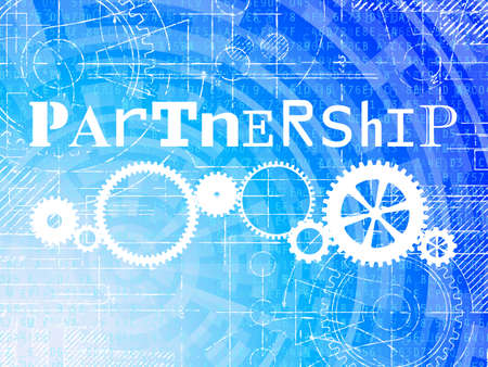 Partnership word on high tech blueprint and data background Illustration