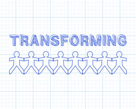 Transforming text hand drawn with paper people on graph paper background