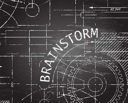 gears: Brainstorm text with gear wheels hand drawn on blackboard technical drawing background