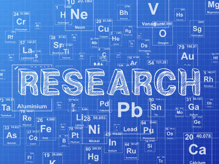 Research word on periodic table symbols blueprint background Illustration