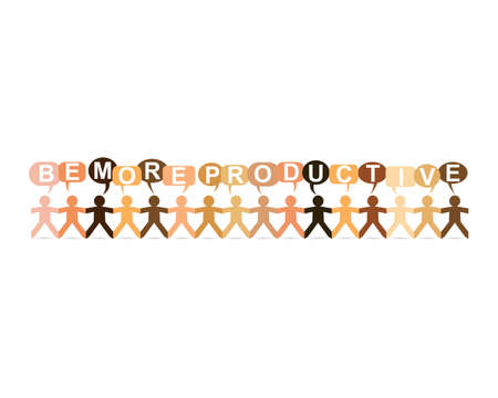 paper product: Be more productive word in speech bubbles with cut out paper people chain in different skin tone colors Illustration