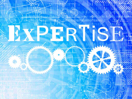 Expertise word on high tech blueprint and data background