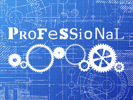 Professional sign and gear wheels technical drawing on blueprint background