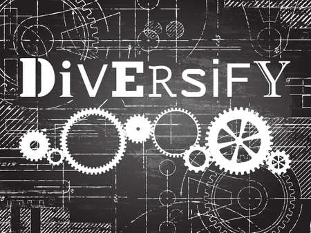 Diversify sign and gear wheels technical drawing on blackboard background