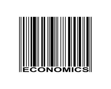 Economics word and barcode icon Illustration