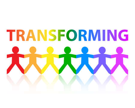 Transforming cut out paper people chain in rainbow colors