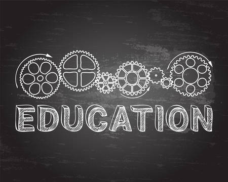machinery: Education text with gear wheels hand drawn on blackboard background