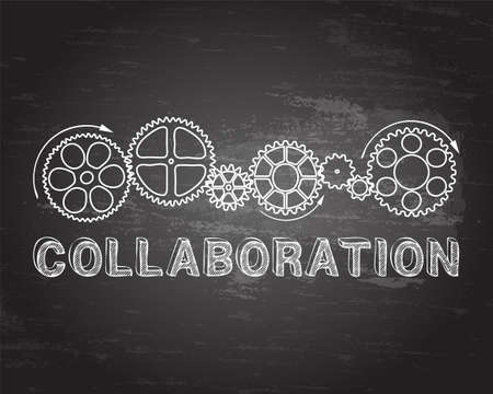 Collaboration text with gear wheels hand drawn on blackboard background  Ilustrace