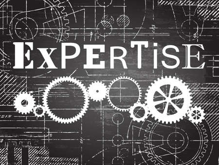 Expertise sign and gear wheels technical drawing on blackboard background