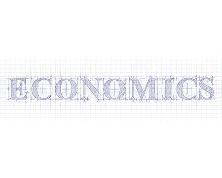 Economics word in technical drawing on graph paper  Illustration
