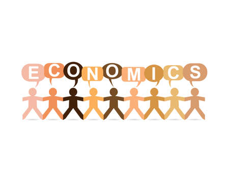 Economics word in speech bubbles with cut out paper people chain in different skin tone colors Illustration