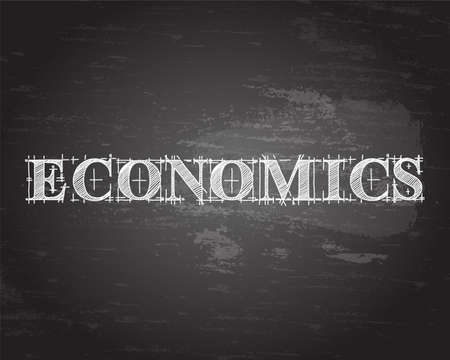Economics text hand drawn on blackboard background