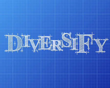 Diversify text hand drawn on blueprint background  Illustration