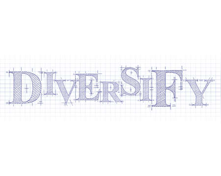 Diversify word in technical drawing on graph paper