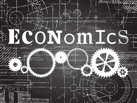 Economics sign and gear wheels technical drawing on blackboard background Illustration