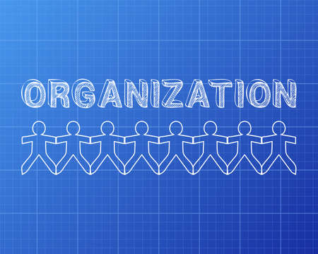 Organization text hand drawn with paper people on blueprint background