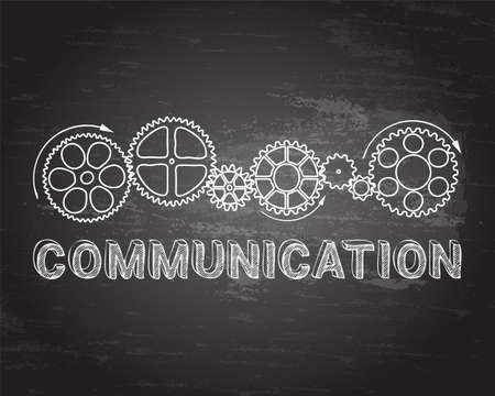 communication industry: Communication text with gear wheels hand drawn on blackboard background