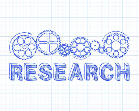 Research text with gear wheels hand drawn on graph paper background