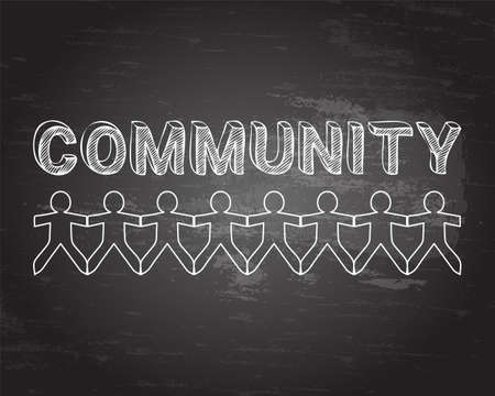 community people: Community text hand drawn with paper people on blackboard background Illustration
