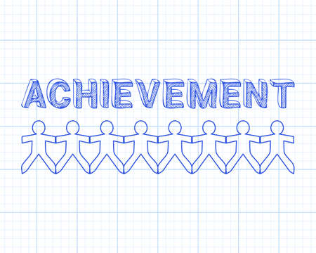 achieve goal: Achievement text hand drawn with paper people on graph paper background Illustration