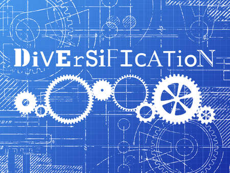 Diversification sign and gear wheels technical drawing on blueprint background Illustration