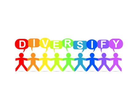 Diversify word in speech bubbles with cut out paper people chain in rainbow colors