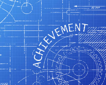 accomplish: Achievement text with gear wheels hand drawn on blueprint technical drawing background Illustration