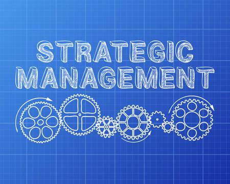 texte de gestion stratégique avec des roues dentées dessinés à la main sur fond de plan