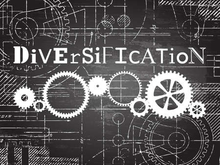 Diversification sign and gear wheels technical drawing on blackboard background